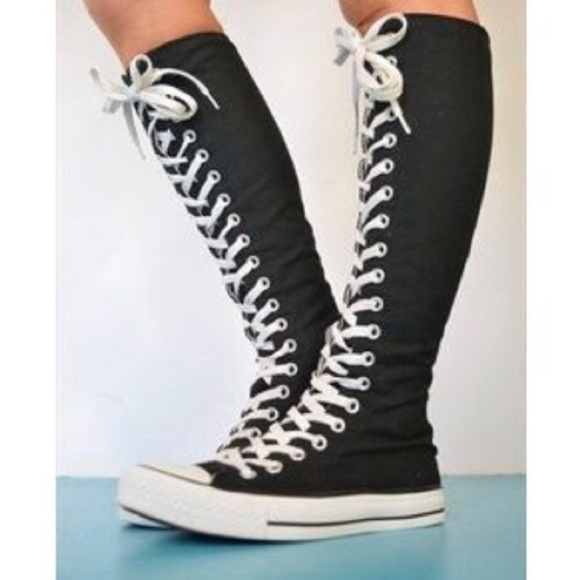 converse lace up knee high boots Online